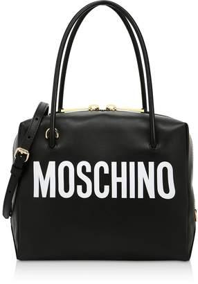 Moschino Black And White Signature Satchel Bag