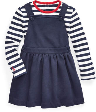 Ralph Lauren Childrenswear Girl's French Terry Overall Dress w/ Long-Sleeve Stripe Tee, Size 6-24 Months