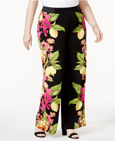 INC International Concepts Plus Size Printed Knit Wide-Leg Pants, Created for Macy's