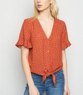 New Look Rust Spot Tie Front Flutter Sleeve Shirt