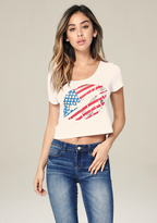 Bebe 4th of July Foil Lips Tee