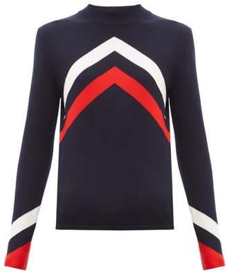 Perfect Moment Chevron-intarsia Merino-wool Sweater - Womens - Navy