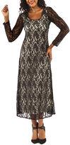 24/7 Comfort Apparel Lace Criss Cross Maxi Dress