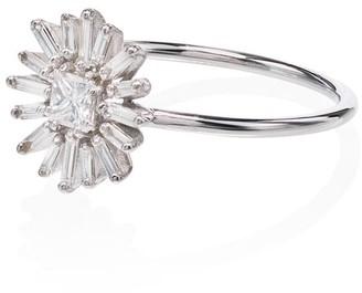 Suzanne Kalan 18kt White Gold Diamond Flower Ring