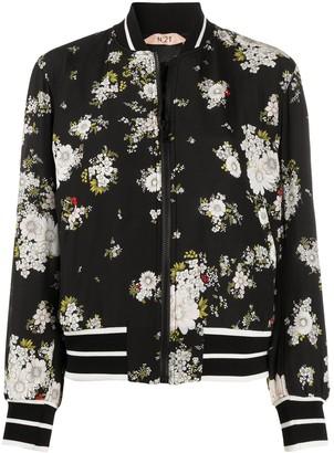 No.21 Floral Print Bomber Jacket