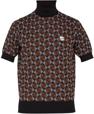 Prada Roll Neck Geometric Jacquard Knit Sweater - Mens - Black Multi