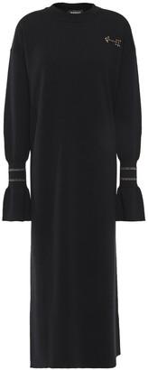 Markus Lupfer Appliqued Merino Wool Midi Dress