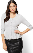 New York & Co. 7th Avenue Sweater Collection - Peplum Cardigan - Grey
