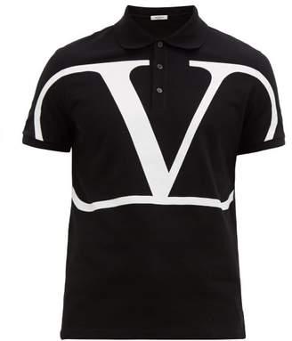 Valentino V-logo Cotton-pique Polo Shirt - Mens - Black