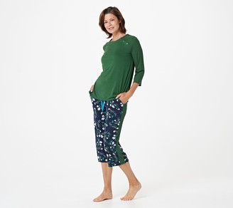 Cuddl Duds Classic Jersey Petite Crew Neck Top and Cropped Pant