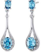 Ice 3 1/2 CT TGW Swiss Blue Topaz Sterling Silver Teardrop Dangle Earrings with CZ Accents