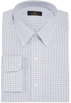Club Room Estate Classic-Fit Wrinkle Resistant White and Blue Tattersall Dress Shirt, Only at Macy's
