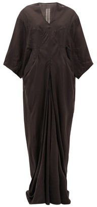 Rick Owens Larry Wide-sleeve V-neck Taffeta Dress - Black