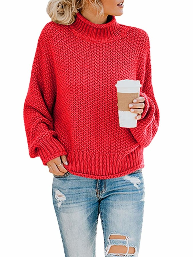 Etyepoh Womens Jumper Boat Neck Batwing Sleeve Casual Knitted Baggy Pullovers Sweater Tops