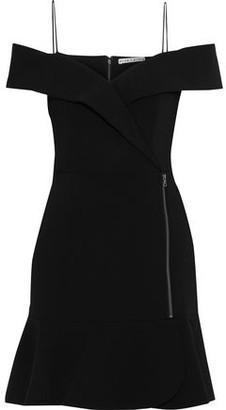 Alice + Olivia Dash Cold-shoulder Zip-embellished Cady Mini Dress