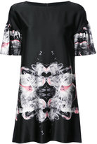 Thomas Wylde printed ruffle sleeve shift dress