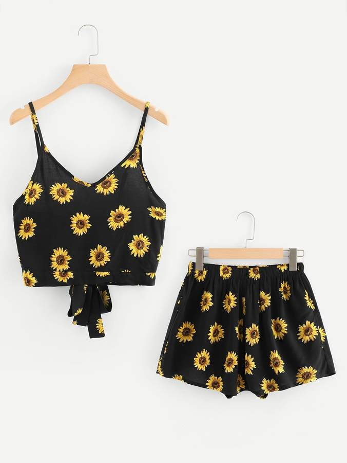 Tie Back Sunflower Print Cami Top With Shorts