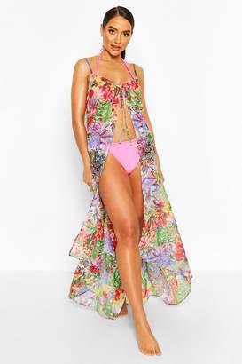 boohoo Beach Tropical Print Tie Split Maxi Dress