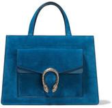 Gucci Dionysus Medium Leather-trimmed Suede Tote - Blue