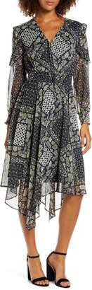 Sam Edelman Patchwork Print Ruffled Handkerchief Hem Midi Dress