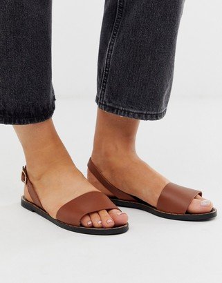 Depp leather two part sandals in tan