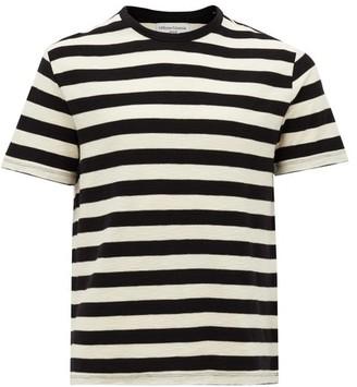 Officine Generale Crew-neck Striped Cotton-jersey T-shirt - Black White