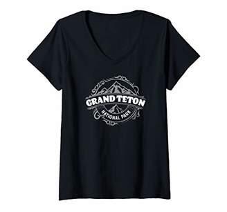 Womens Grand Teton National Park - Round Vintage Classic Design V-Neck T-Shirt