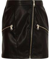 River Island Girls Black faux leather biker mini skirt