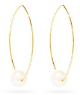 Mizuki Diamond, Pearl & 14kt Gold Hoop Earrings - Womens - Pearl