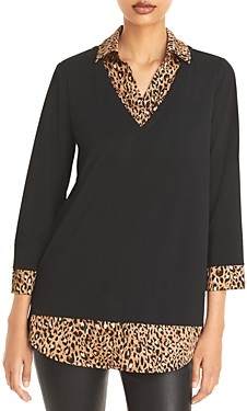 Karl Lagerfeld Paris Leopard-Print Two For One Top