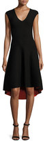 Milly Reversible V-Neck Fit-&-Flare Dress, Black/Flame