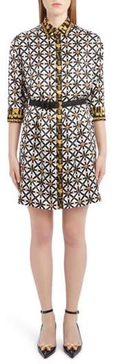Versace Harness Print Belted Silk Shirtdress