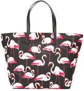 RED Valentino flamingos tote bag - women - Cotton/Leather - One Size