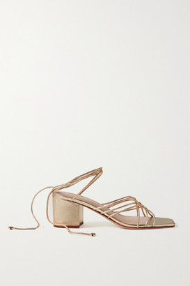 PORTE & PAIRE Woven Metallic Leather Sandals - Gold