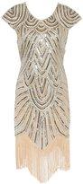 Ez-sofei Woen's Vintage Sequined Ebellished Tassels Gatsby Flapper Cocktail Dress (, Beige)