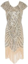 Ez-sofei Woen's Vintage Sequined Ebellished Tassels Gatsby Flapper Cocktail Dress