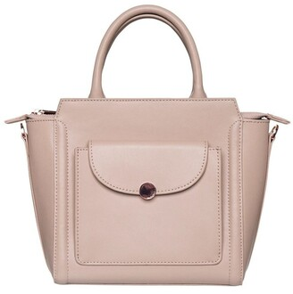 Mocha Brianna Top-Handle Leather Bag - Taupe