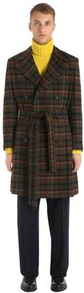 Piombo Mp Massimo PLAID VIRGIN WOOL COAT W/ BELT