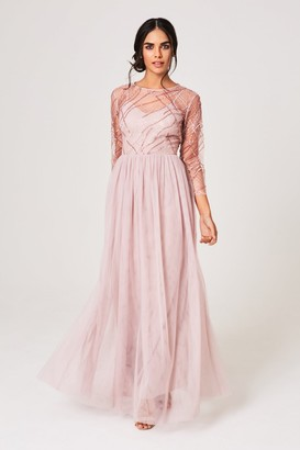 Little Mistress Bridesmaid Jodie Mink Sequin Mesh Maxi Dress