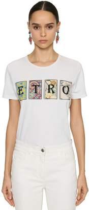 Etro CARD PRINTED LOGO COTTON JERSEY T-SHIRT