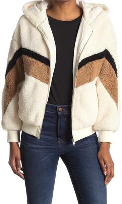 Lush Chevron Stripe Faux Shearling Jacket