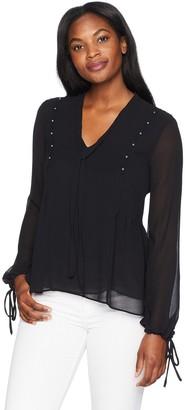 Ellen Tracy Women's Beaded Long Sleeve Top with Side Pleat