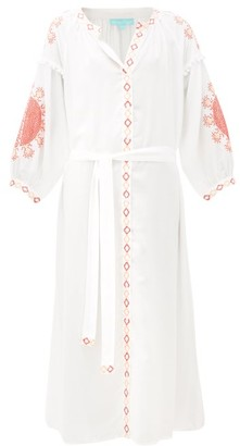 Melissa Odabash Iyla Embroidered Kaftan - Womens - White Multi