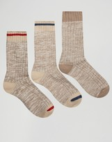 Asos Boot Socks In Oatmeal 3 Pack