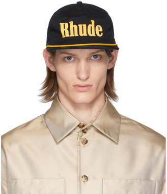 Rhude Black and Yellow Logo Cap