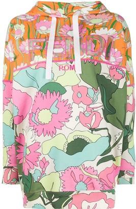 Fendi Floral Print Logo Hoodie