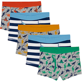 John Lewis Boys' Young Dinosaur Stripe Print Trunks, Pack of 5, Multi/Grey