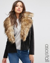 ASOS Tall ASOS TALL Biker Jacket with Oversized Faux Fur Collar