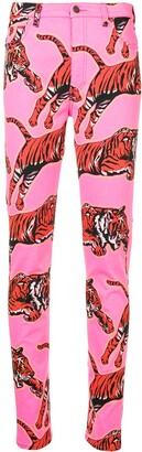 Gucci Tiger Print Skinny Jeans