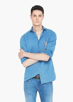Mango Outlet Slim-Fit Patterned Chambray Shirt